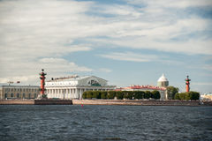 The spit of Vasilievsky Island in Saint Petersburg Stock Images