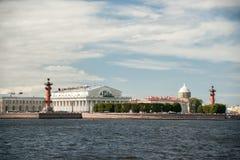 The spit of Vasilievsky Island in Saint Petersburg Stock Images
