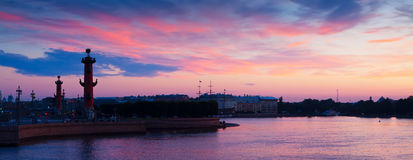 Spit of Vasilievsky Island  in summer dawn Royalty Free Stock Photos