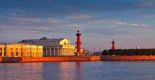 Spit of Vasilievsky Island  in summer morning Stock Image