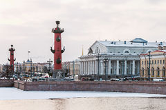 Spit of Vasilievsky Island in winter in Saint Petersburg at dawn Royalty Free Stock Images