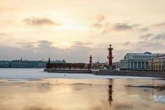 Spit of Vasilievsky Island in winter in Saint Petersburg Royalty Free Stock Photo