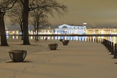 Spit of Vasilyevsky Island. New Year`s St. Petersburg. Russia. View from the Zayachiy Island on Spit of Vasilyevsky Island. Christmas Tree. Exchange area. New royalty free stock photography