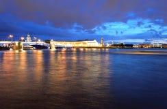 Spit of Vasilyevsky Island at night. Royalty Free Stock Photography