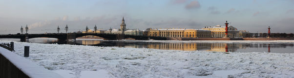 The spit of Vasilyevsky island, Saint-Petersburg, Royalty Free Stock Photo