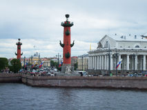 Spit of Vasilyevsky Island. SAINT-PETERSBURG, RUSSIA - 12 JUNE, 2015: Spit of Vasilyevsky Island in St. Petersburg, Russia, June, 2015 Royalty Free Stock Image