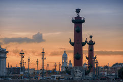 Spit of Vasilyevsky Island in Saint Petersburg Stock Images