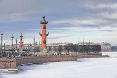 The Spit of Vasilyevsky Island in Saint Petersburg in winter Stock Photos