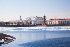 The Spit of Vasilyevsky Island in St.Petersburg Stock Photography
