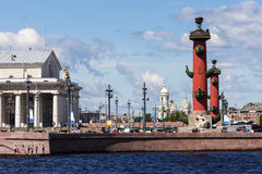 Spit of Vasilyevsky Island in St. Petersburg, Russia Royalty Free Stock Image
