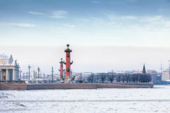 The Spit of Vasilyevsky Island in St. Petersburg in winter Royalty Free Stock Image