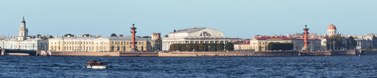 Spit of Vasilyevsky Island in summer, St. Petersburg Stock Images