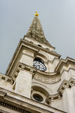 Spitalfields Church spire and clock, London UK Royalty Free Stock Photo