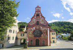 Spitalkirche在菲森,巴伐利亚,德国 免版税库存照片