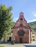Spitalkirche在菲森,巴伐利亚,德国 图库摄影