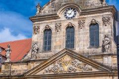 Spitalkirche op het marktvierkant in de oude stad van Bayreuth Stock Foto