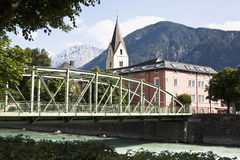 Spitalsbrucke and Isel river, Lienz, Austria Royalty Free Stock Photography