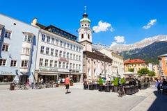 Spitalskirche catholic church, Innsbruck. INNSBRUCK, AUSTRIA - MAY 22, 2017: Spitalskirche is the Roman catholic church located in Altstadt Old Town of Innsbruck Stock Images