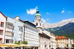 Spitalskirche catholic church, Innsbruck. Spitalskirche is the Roman catholic church located in Altstadt Old Town of Innsbruck, Austria Stock Image