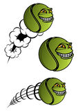 Spiteful tennis ball cartoon character. Green spiteful cartoon tennis ball with evil grin and motion lines as symbol or mascot design for sport club, team Stock Photos