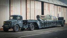 Spitfire airplane on the back of a transporter stock image