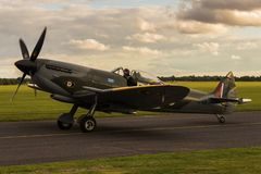 Spitfire in airport stock images