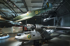 Spitfire and catalina Swedish air force museum Royalty Free Stock Images