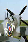 Spitfire Cockpit. Cockpit of a mark IX British Spitfire parked beside a grass runway royalty free stock image