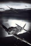 Spitfire di Supermarine durante il volo sopra un porto Immagine Stock Libera da Diritti