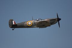 Spitfire in flight. On an airshow royalty free stock images