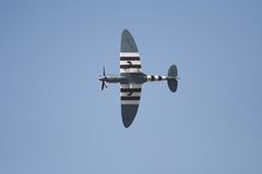 Spitfire in flight. On an airshow stock image