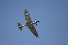 Spitfire in flight. At an airshow stock images