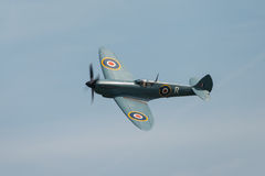 Spitfire in flight. Abingdon, UK - May 4th 2014: A vintage World War Two, British Supermarine Spitfire  in flight Stock Photography