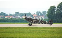 Spitfire just landed at Pardubice Air Show Stock Photos