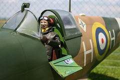 Spitfire pilot. Pilot in RC model Spitfire Stock Image