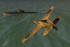 Spitfire and U-boat Royalty Free Stock Photos