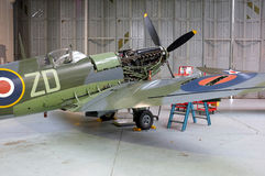 Spitfire in the workshop Royalty Free Stock Photo