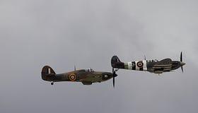 Spitfire WW2 и ураган на airshow Великобритании Стоковые Фото