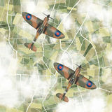 Spitfires flying in pairs. Illustration of old military planes flying in formation Stock Image