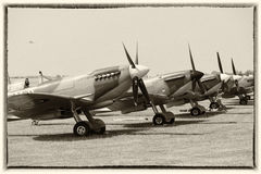 Spitfires in a line on ground. Sepia toned. Vintage look Royalty Free Stock Photos