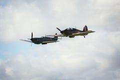 Spitfires WW2 в среднем воздухе Стоковые Изображения