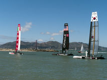 Spithill and other boats at America Cup Royalty Free Stock Photography