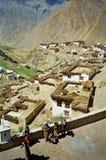 Spiti谷的,喜马偕尔邦美丽如画的喜马拉雅村庄, 库存照片