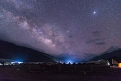 Spiti Milkyway - Chandratal Camping Tent - Landscape of Spiti Valley, Himachal Pradesh, India / Middle Land royalty free stock images