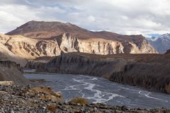 Spiti River. Valley of the Spiti River, Spiti, Himachal Pradesh, India Royalty Free Stock Photography