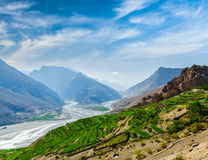 Spiti valley and river in Himalayas Royalty Free Stock Photo