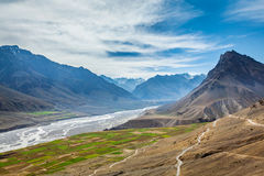 Spiti valley and river in Himalayas Stock Images