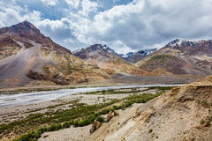 Spiti valley and river in Himalayas Stock Photo