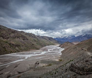 Spiti valley and river in Himalayas Stock Photography