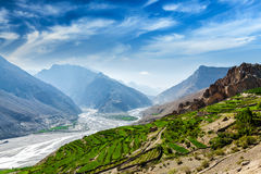 Spiti valley and river in Himalayas Stock Photos